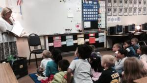 Reading to Crossroads Elementary Kindergarten Class